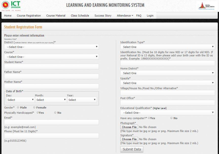 ICT Division LEARNING AND EARNING Registration Form