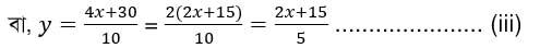 ৮ম শ্রেণির ৬ষ্ঠ এ্যাসাইনমেন্ট গণিত সমাধান সহায়িকা, খ. প্রতিস্থাপন পদ্ধতি ব্যবহার করে, তাদের দুইজনের বর্তমান বয়স নির্ণয় কর; সমাধান, ক হতে পাই, (x-5) ∶ (y-5)=10∶4