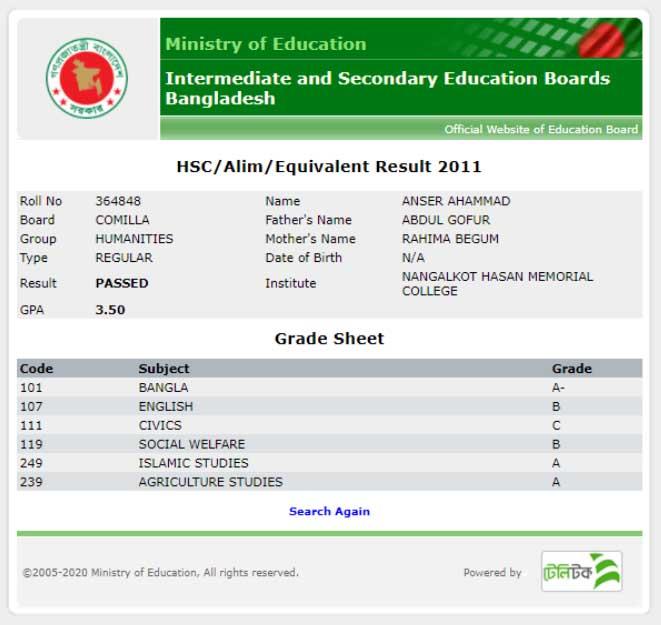 HSC 2020 marksheet via educationboardresults.gov.bd