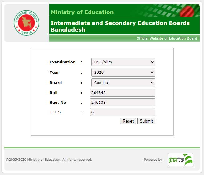 HSC ALIM Results via educationboardresults.gov.bd