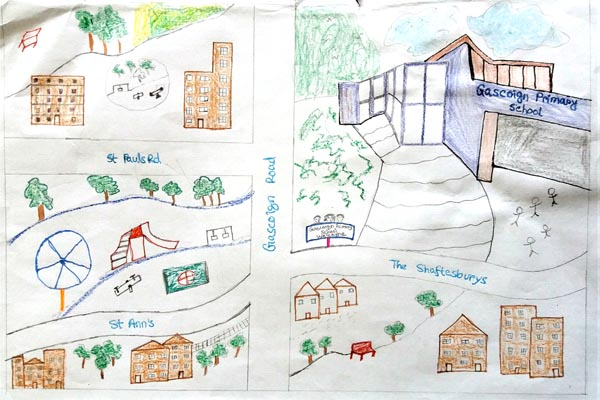 Way to school from home map Drawing 01