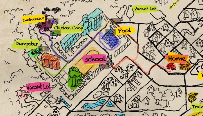 Way to school from home map Drawing 02