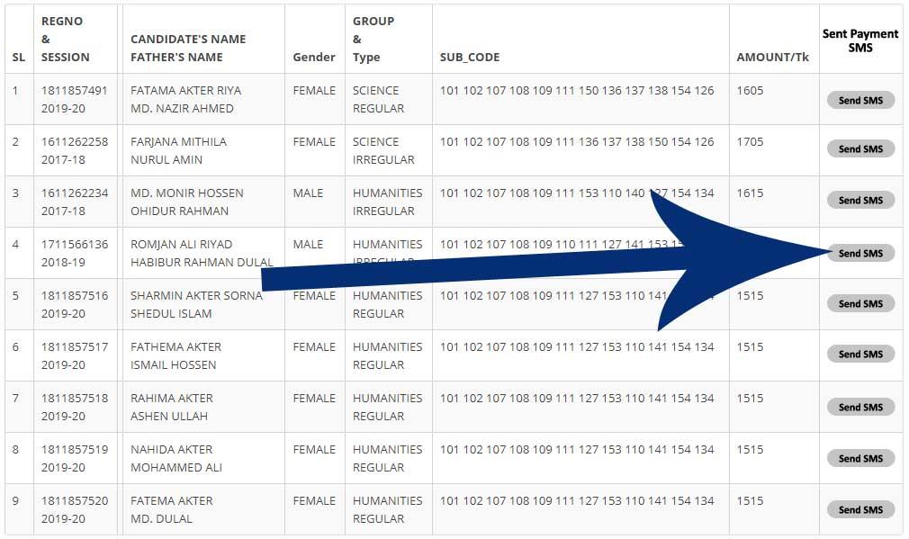 ধাপ-৩: এইচএসসি ও আলিম পরীক্ষার্থীদের টেম্পোরারি লিস্ট প্রিন্ট এবং ফরম ফিলাপ ফি সংক্রান্ত SMS প্রেরণ HSC and Alim Temporary Candidate List